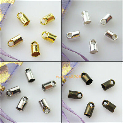 150 New Gold Dull Silver Plated 3.2mm Blunt Necklace End Tip Bead Caps Connector