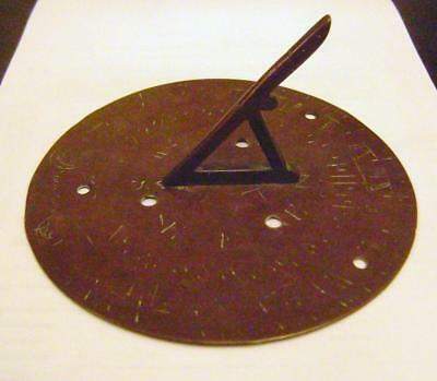 Antique Engraved Copper or Brass Sundial: Worn & heavily Patinated Sun Dial