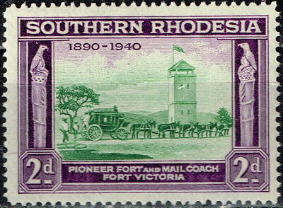 British Southern Rhodesia Horse Mail Coach stamp 1940 MLH