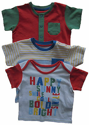 New Marks & Spencer Baby Boys Red White Blue Tops T-Shirts x 3 Age 9-12 Months
