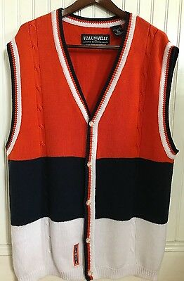 Vintage Pelle Pelle Marc Buchanan 1980s Mens V-neck Sweater Vest XL Orange Navy