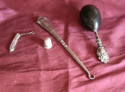 Antique Victorian Sterling Silver Sewing Items Button Hooks Thimble Darning Egg