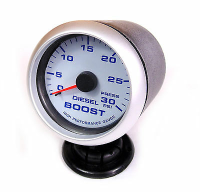 Diesel Boost Gauge 30psi Blue Back Light Silver Rim 65mm Audi A3 A4 A5 A6