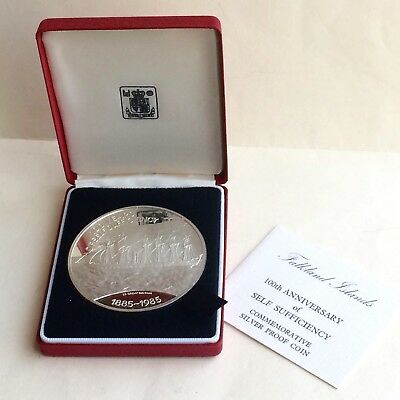 1885/1985 Falkland Islands Commemorative Sterling Silver Proof Coin