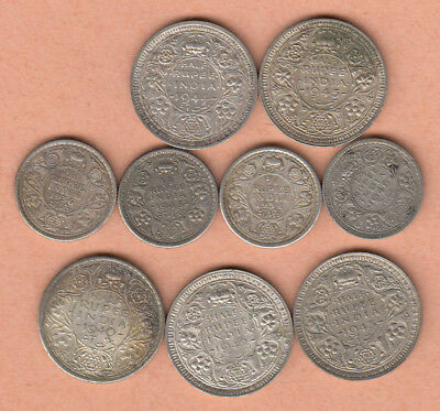 British India 5 pcs Half Rupees; 4 pcs 1/4-Rupees all different dates all silver