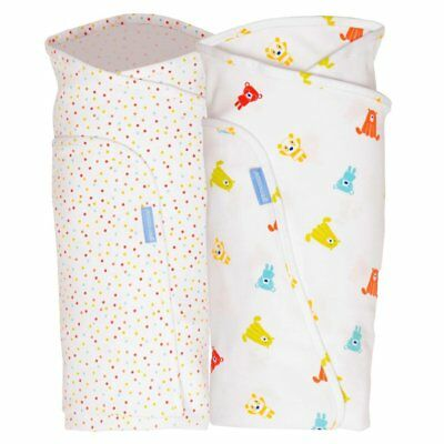 Grobag Baby Groswaddle 100% Cotton Birth to 14lbs Spotty Bear 2 Pack