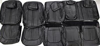 2015-2018 Ford F-150 Platinum Super Crew Factory Black Leather Seat Cover Set