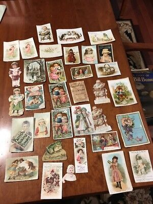 Antique Lot of 30+ Victorian Trade Cards: Wilbur Eagle Cat Children Cologne +++