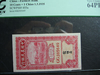 1935 .China 1Chiao Farmers Bank Note,PCGS MS64
