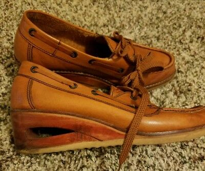 Vtg Young 'n' Fair Shoe LEATHER & WOOD