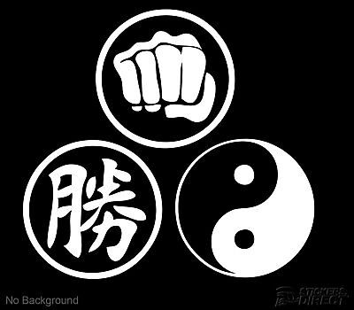 Victory Power Yin Yang Decal Set 3 140mm Martial Arts Stickers Any Colour