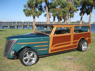 1937 Replica/Kit Makes Ford Woody Wagon TREET ROD WOODIE WOODY SURF WAGON HOT RAT ROD 37 FORD GRILL CHEVY 350 V8
