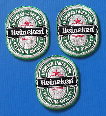 3 HEINEKEN LAGER BEER  Embrodered Iron Or Sewn On Patches Free Ship