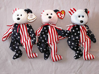 3-Ty Beanie Babies Bears-Spangles 1-White Face,1-Blue Face,1-Pink Face