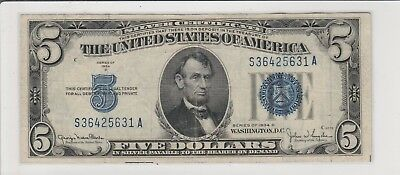 1934 D $5 Five Dollars Us Silver Certificate Blue Seal Note Circulated 631A