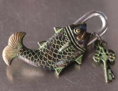 Chinese Antique Bronze Made Available Lifelike Fish lock Statue