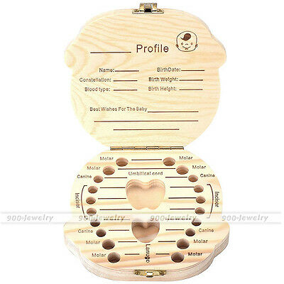 Kids Tooth Box Baby Boy&Girl Organizer Save Lovely Mile Teeth Wood Storage Case