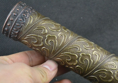 Old Collectibles Decorated Wonderful Handwork copper carving flower kaleidoscope