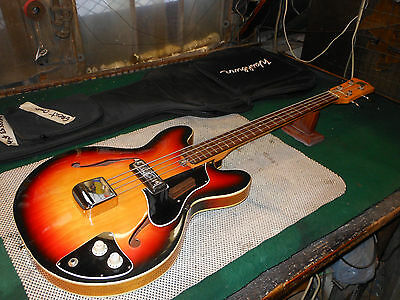 1960s Vintage Kent EB-2 Hollow Body Bass Guitar Made in the Japan Super Clean