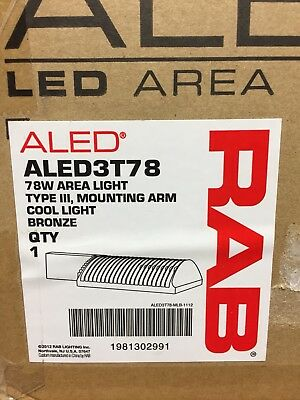 RAB Area Light ALED3T78 78W Lighting Fixture LED Type III Bronze Free Shipping