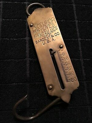 VTG EXCELSIOR IMPROVED SPRING BALANCE 50Lb Brass Faced Scale Sargent & Co.