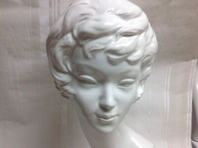"Vintage/Retro 1970's Female/Woman's Head Bust, 12"", Ceramic"