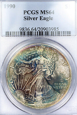 Rainbow Toned 1990 MS64 American Silver Eagle $1 ASE graded by PCGS!!