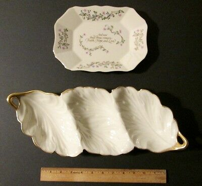 """Two (2) LENOX Pieces: Vintage 3 Compartment Large Bowl AND """"Love Is"""" Tray ~Nice!"""
