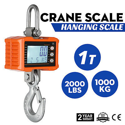 1000KG 1Ton 2000 LBS Digital Crane Scale Heavy Duty Hanging Scale OCS-S Silver