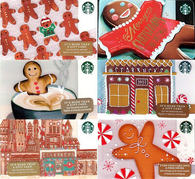 NEW STARBUCKS 2017 2016 2015 HOLIDAY GINGERBREAD MERRY Christmas Gift Cards Set