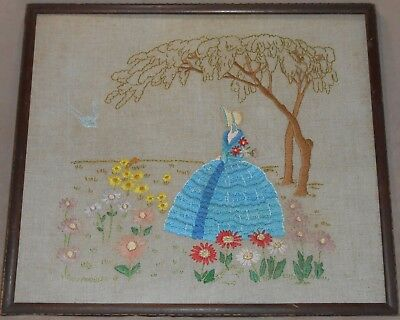 Vintage Charming Hand Embroidered Picture