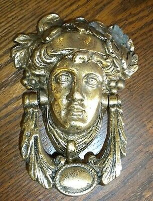 Antique  Vintage Mask Door Knocker Heavy Ornate Solid Brass  Detailed