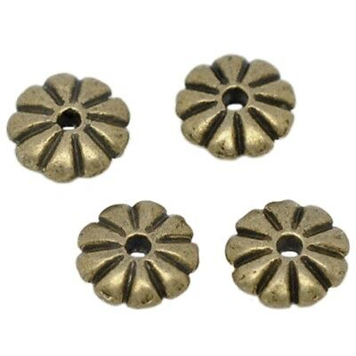 100x Bronze Tone Flower Spacer Beads 7x2mm H2H4