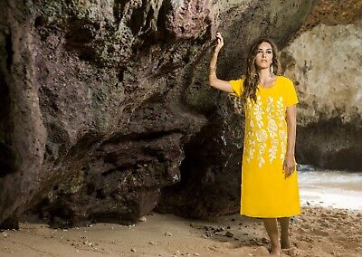 Indian Georgette Regular Wear Round Neck Yellow Color Long Length Kurti
