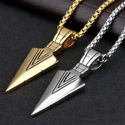 Men Fashion Jewelry Gold Silver Arrow Head Pendant Long Chain Necklace Gift