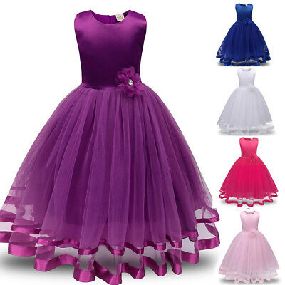 Flower Girls Princess Bridesmaid Pageant Tutu Tulle Gown Party Wedding Dress