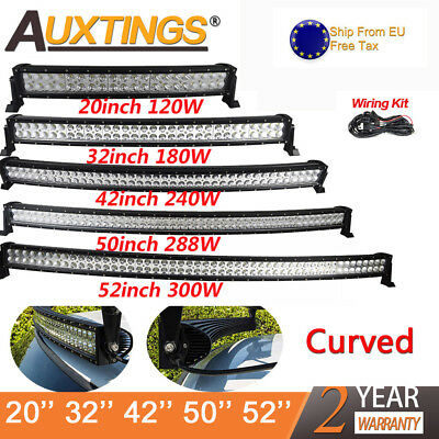 32'' 42'' 52'' 240W 300W Curved LED LIGHT BAR WORK BEAM 4WD BOAT UTE OFFROAD DE