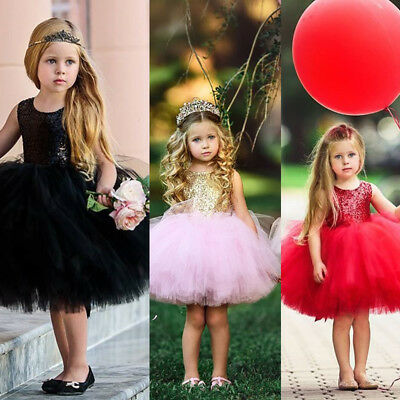 AU Kids Baby Flower Girls Party Sequins Dress Gowns Bridesmaid Dresses Sundress