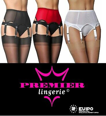 ddf2a3d0783 Premier Lingerie Sheer Mesh 6 Strap Suspender   Garter Belt for Stockings  (PL61)
