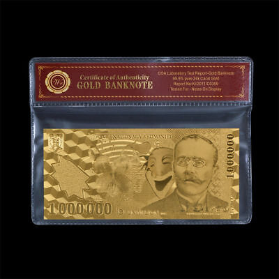 WR 2003 Romania 10000000 Lei Polymer Note 24K Gold Foil Banknote Collection +COA