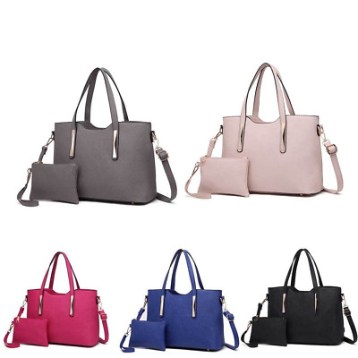 Fashion Ladies 2PCS Handbag Clutch  PU Leather Tote Shoulder Bag Satchel Wallet