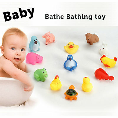 1pc Cute Soft Rubber Float Sqeeze Sound Baby Wash Bath Play Animals Toys New