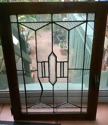 Small Timber Leadlight Hinged Window 56cm By 42 Cm