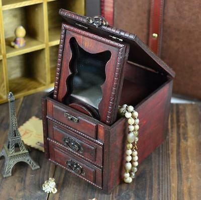 Vintage large decorative boxes jewelry handmade wooden Makeup mirror box 3layers