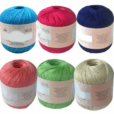 Mercerized Cotton Cord Thread Yarns Crochet Embroidery Knitting Lace DIY Threads