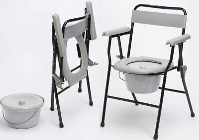 Z-Tec Lightweight Steel Folding Commode with Bed Pan, Bucket & Lid - Toilet Easy