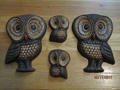 Vintage Set Of 4 Owls, By Foam Craft.