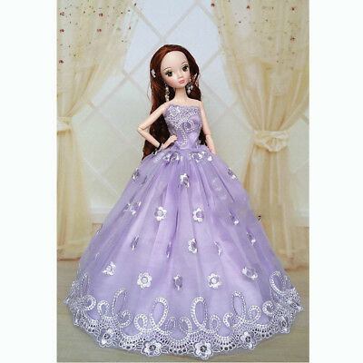 Purple Fashion Wedding Gown Dresses Clothes Party For Barbie Doll Gift