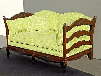 Vintage French Country Green Floral Design Carved Wood SETTEE Loveseat