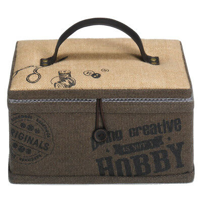 Canvas Sewing Basket with Built in Pincushion & Elasticated Pocket|18.5x26x16cm